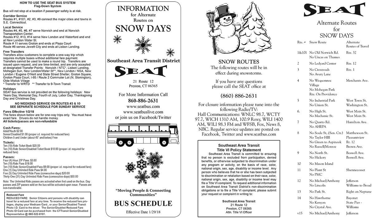 Snow Schedule   Southeast Area Transit District